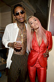 Rapper Wiz Khalifa and actress/singer Rita Ora attend the Teen Choice Awards 2015 at the USC Galen Center on August 16 2015 in Los Angeles California