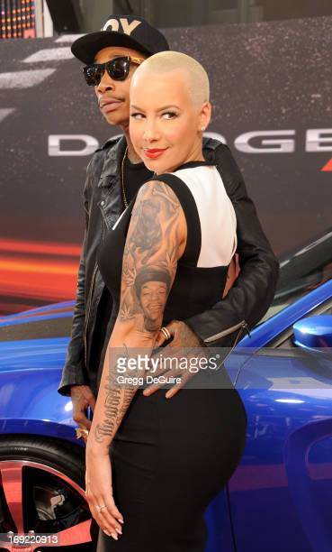 Rapper Wiz Khalifa and Amber Rose arrive at the Los Angeles premiere of 'Fast The Furious 6' at Gibson Amphitheatre on May 21 2013 in Universal City...