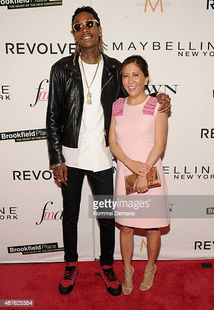 Rapper Wiz Khalifa and CoPresident and Chief Creative Officer of Guggenheim Media's Entertainment Group Janice Min attend The Daily Front Row's Third...