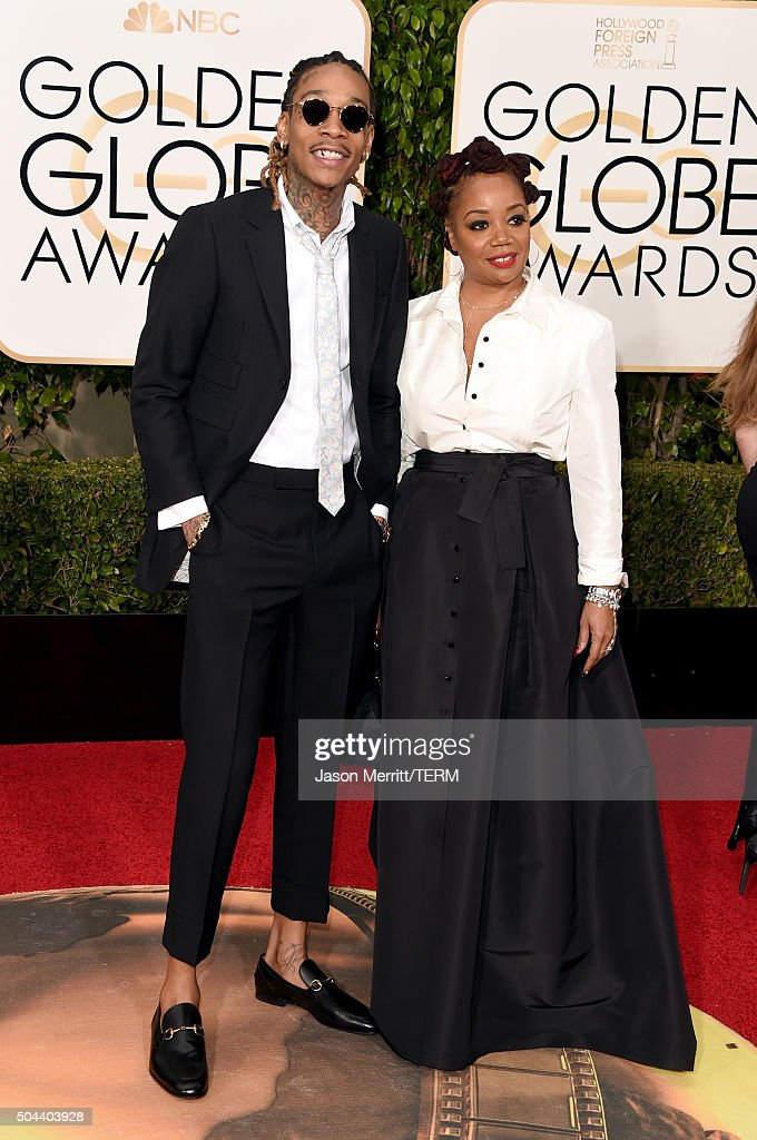 Rapper Wiz Khalifa and Peachie Wimbush attend the 73rd Annual Golden Globe Awards held at the Beverly Hilton Hotel on January 10, 2016 in Beverly Hills, California.