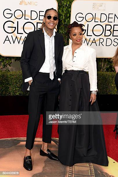 Rapper Wiz Khalifa and Peachie Wimbush attend the 73rd Annual Golden Globe Awards held at the Beverly Hilton Hotel on January 10 2016 in Beverly...