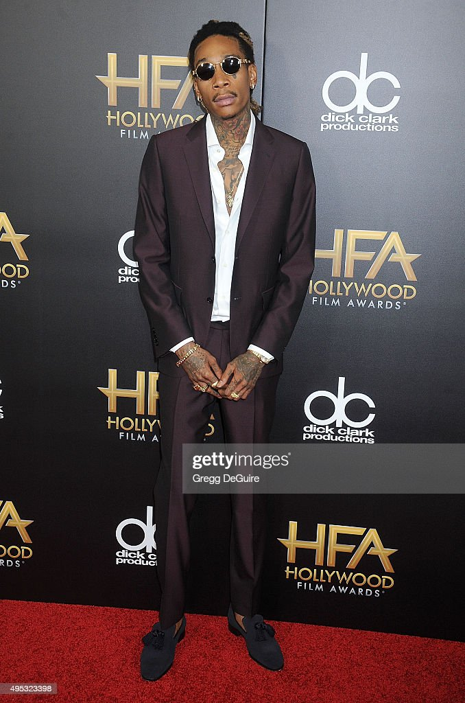 Rapper Wiz Khalifa arrives at the 19th Annual Hollywood Film Awards at The Beverly Hilton Hotel on November 1, 2015 in Beverly Hills, California.