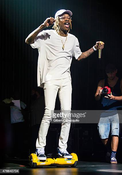 Rapper Wiz Khalifa performs during the opening night of Boys of Zummer Tour with Fall Out Boy and Wiz Khalifa at Susquehanna Bank Center on June 10...