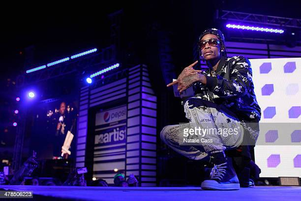 Rapper Wiz Khalifa speaks onstage at the 2014 mtvU Woodie Awards and Festival on March 13 2014 in Austin Texas
