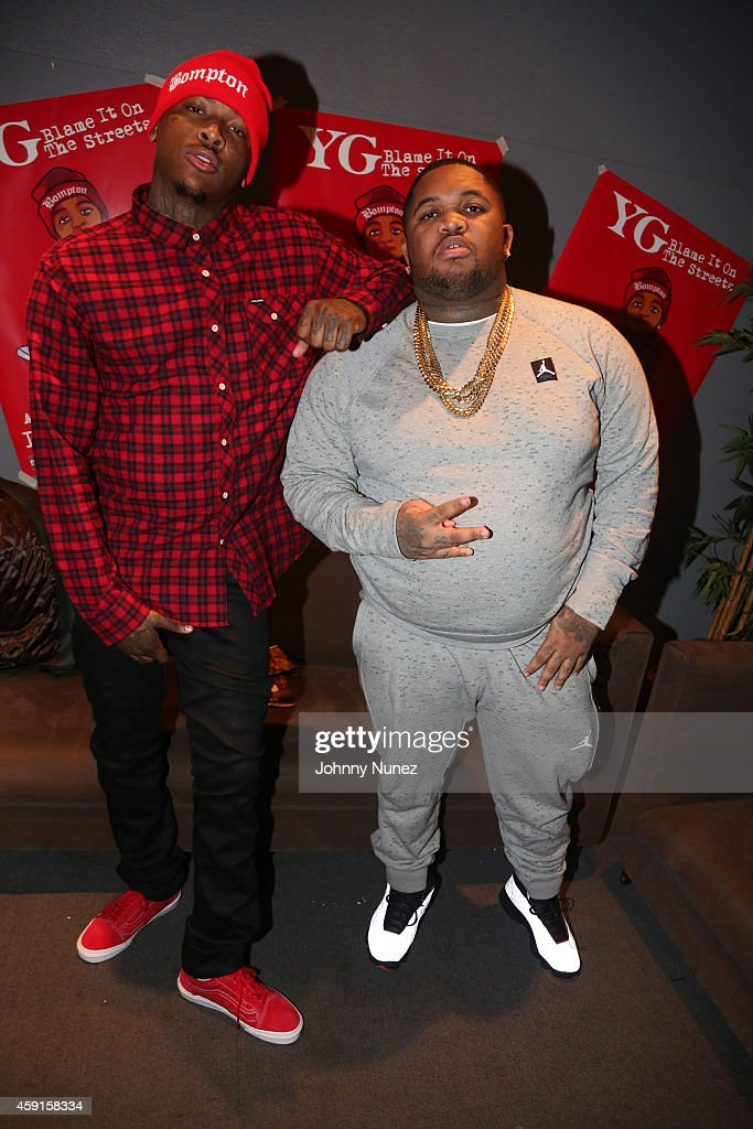 Rapper YG and DJ Mustard attend 'Blame It On The Streets' Special Screening at Tribeca Cinemas on November 17 2014 in New York City