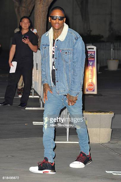 Rapper YG attends a Los Angeles Lakers game on October 26 2016 in Los Angeles California