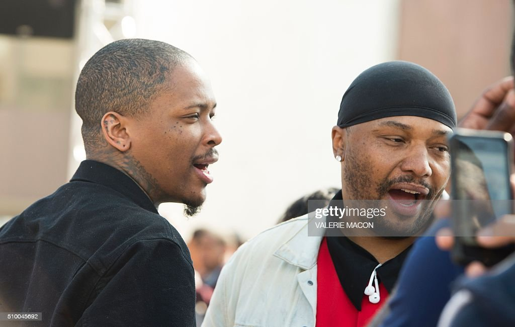 Rapper YG attends the ceremony honoring Kendrick Lamar with the Keys of the City of Compton, in Compton, California, on February 13, 2016. MACON