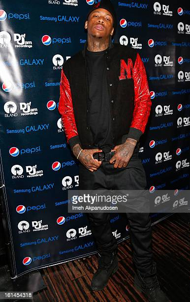 Rapper YG attends the Island Def Jam Grammy Party sponsored by Samsung and Pepsi at Osteria Mozza on February 10 2013 in Los Angeles California