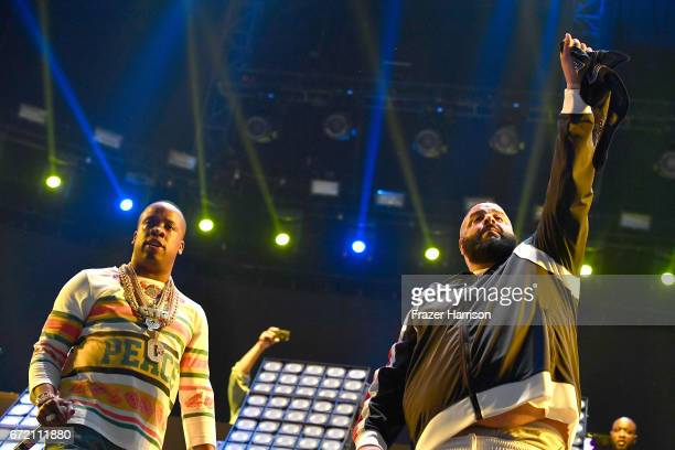 Rapper Yo Gotti performs with DJ Khaled at the Sahara Tent during day 3 of the 2017 Coachella Valley Music Arts Festival at the Empire Polo Club on...