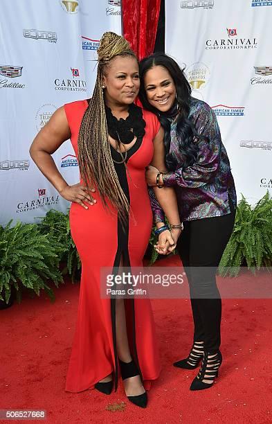 Rapper Yolanda 'YoYo' Whitaker and Monie Love attend 2016 Trumpet Awards at Cobb Energy Performing Arts Center on January 23 2016 in Atlanta Georgia