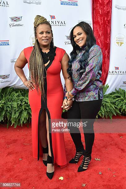 Rapper Yolanda 'YoYo' Whitaker and Monie Love attend 2016 Trumpet Awards at Cobb Energy Performing Arts Center on January 23 2016 in Atlanta Georgia
