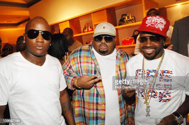Rapper Young Jeezy Producer Jazze Pha Rapper and Producer Jermaine Dupri attends a private reception for his new cd 'TI vs TIP' July 7 2007 in...