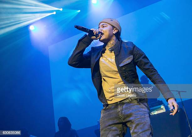 Rapper Young MA performs during the Big Show at The Joe at Joe Louis Arena on December 28 2016 in Detroit Michigan
