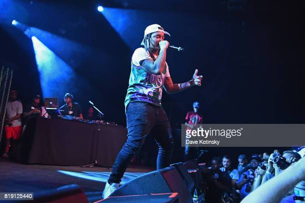 Rapper Young MA performs onstage during Pandora Sounds Like You NYC featuring Nas Young MA Dave East and Biz Markie DJ Set at Brooklyn Steel on July...