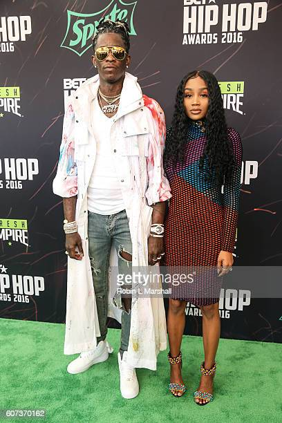 Rapper Young Thug and Jerrika attends the BET Hip Hop Awards at Cobb Energy Performing Arts Center on September 17 2016 in Atlanta Georgia