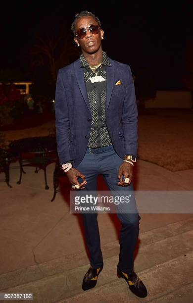 Rapper Young Thug attends Rick Ross Private Birthday Affair at Rick Ross Mansion on January 28 2016 in Atlanta Georgia