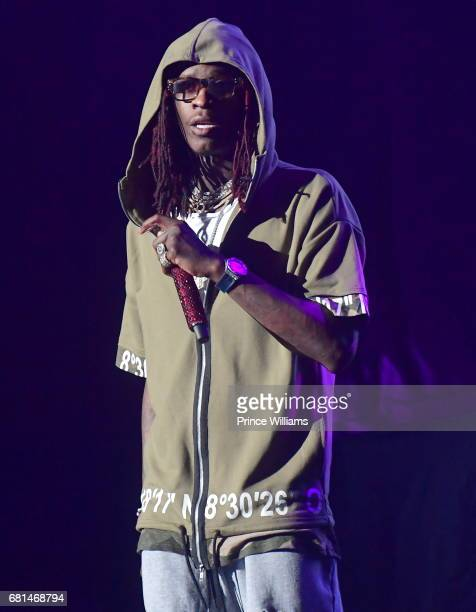 Rapper Young Thug Performs during the 'Nobody Safe' Tour at Aaron's Amphitheater at Lakewood on May 9 2017 in Atlanta Georgia