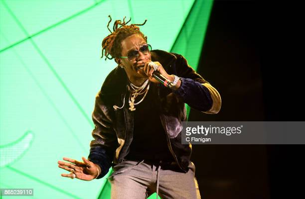 Rapper Young Thug performs during the Rolling Loud Festival at Shoreline Amphitheatre on October 22 2017 in Mountain View California