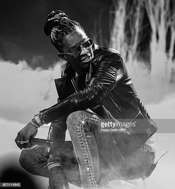 Rapper Young Thug performs onstage at 2016 BET Hip Hop Awards at Cobb Energy Performing Arts Center on September 17 2016 in Atlanta Georgia