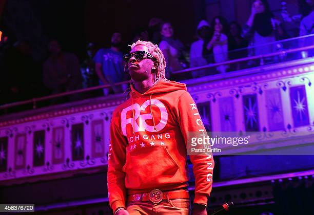 Rapper Young Thug performs onstage at Rock the Vote's #TURNOUTFORWHAT Concert at The Tabernacle on November 3 2014 in Atlanta Georgia
