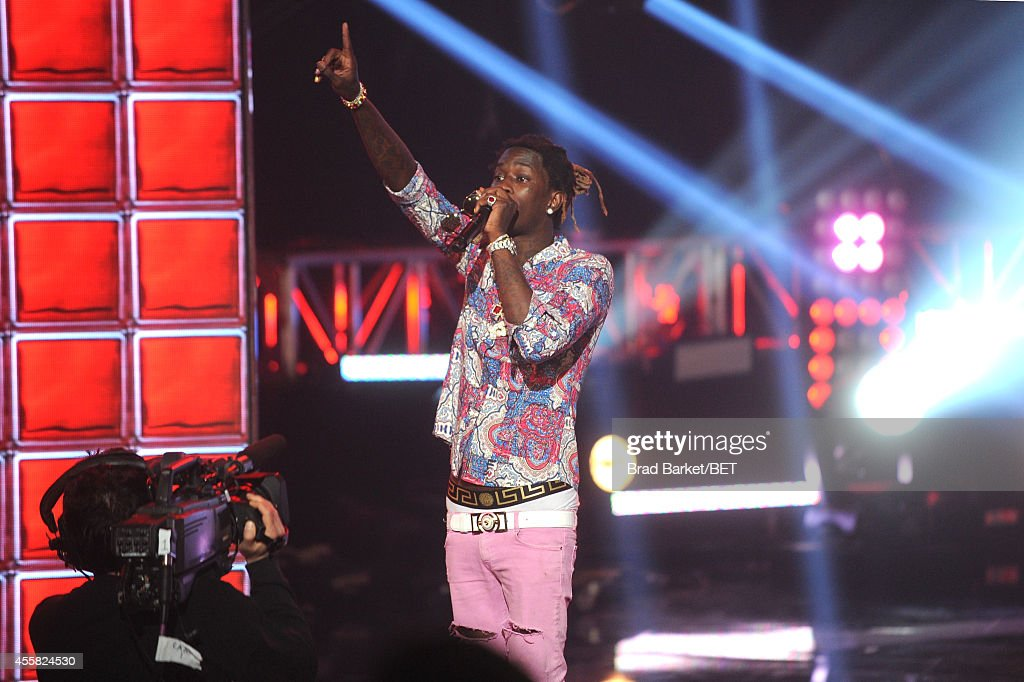Rapper Young Thug performs onstage at the BET Hip Hop Awards 2014 at Boisfeuillet Jones Atlanta Civic Center on September 20 2014 in Atlanta Georgia