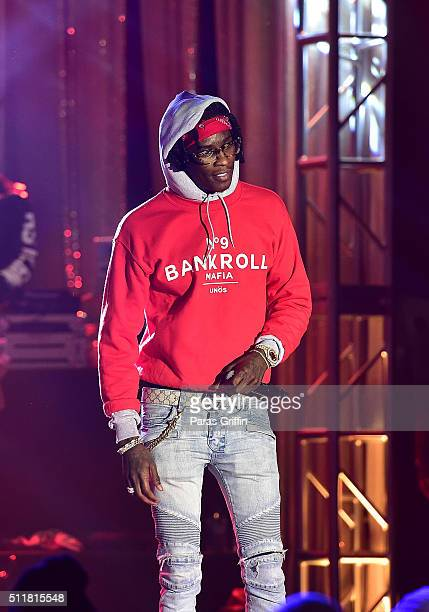 Rapper Young Thug performs onstage at TIDAL X TIP at Greenbriar Mall on February 22 2016 in Atlanta Georgia