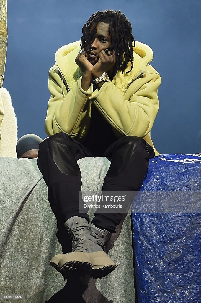 Rapper Young Thug poses during Kanye West Yeezy Season 3 on February 11, 2016 in New York City.