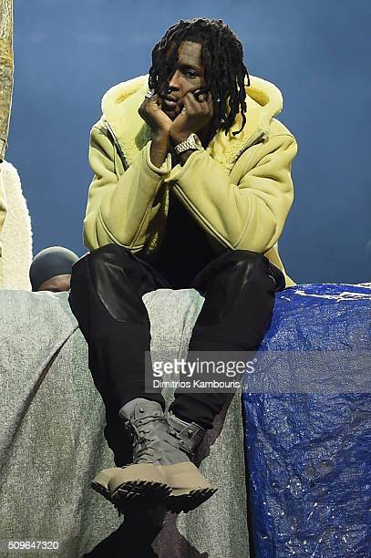 Rapper Young Thug poses during Kanye West Yeezy Season 3 on February 11 2016 in New York City
