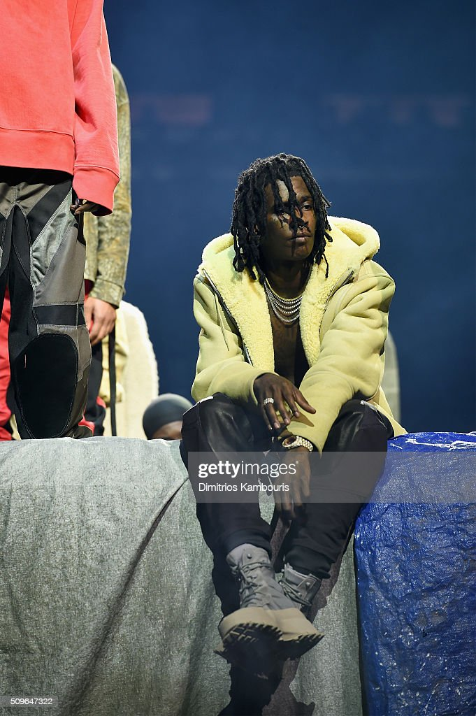Rapper <a gi-track='captionPersonalityLinkClicked' href=/galleries/search?phrase=Young+Thug+-+Rapper&family=editorial&specificpeople=13617846 ng-click='$event.stopPropagation()'>Young Thug</a> poses during Kanye West Yeezy Season 3 on February 11, 2016 in New York City.