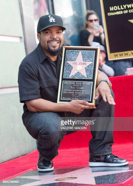 Rapper/actor Ice Cube attends his star unveiling ceremony on the Hollywood Walk of Fame on June 12 in Hollywood California / AFP PHOTO / VALERIE MACON