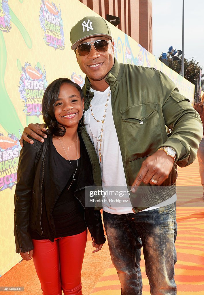 Rapper/actor <a gi-track='captionPersonalityLinkClicked' href=/galleries/search?phrase=LL+Cool+J&family=editorial&specificpeople=201567 ng-click='$event.stopPropagation()'>LL Cool J</a> (R) and daughter Nina attend Nickelodeon's 27th Annual Kids' Choice Awards held at USC Galen Center on March 29, 2014 in Los Angeles, California.