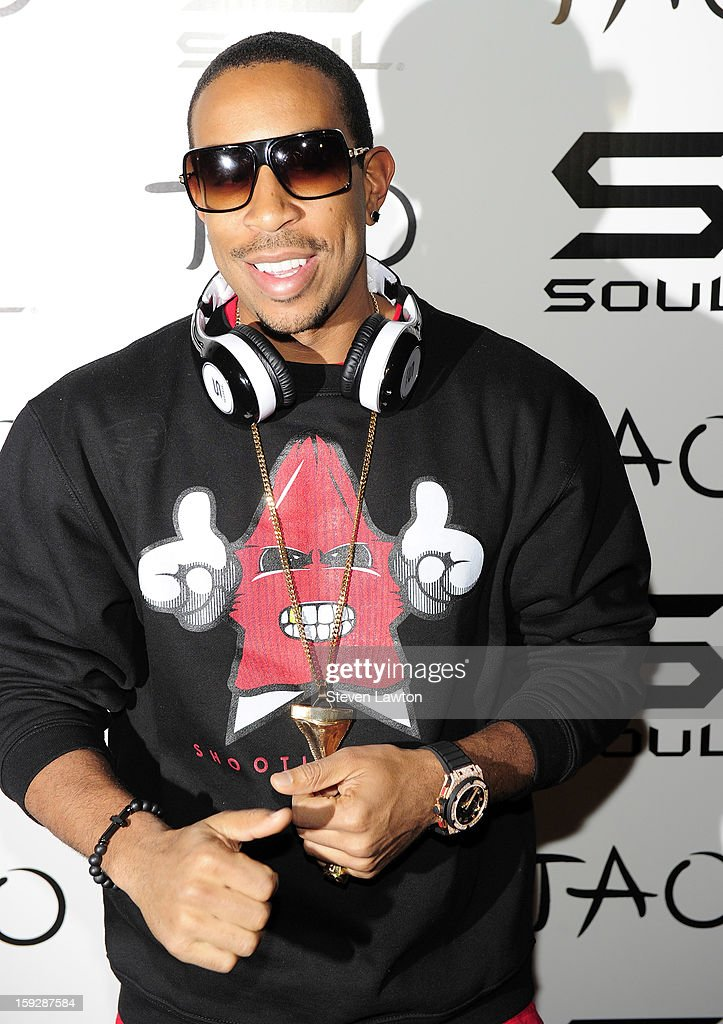 Rapper/actor <a gi-track='captionPersonalityLinkClicked' href=/galleries/search?phrase=Ludacris&family=editorial&specificpeople=203034 ng-click='$event.stopPropagation()'>Ludacris</a> arrives for the official Soul headphones party at Tao Nightclub at The Venetian on January 10, 2013 in Las Vegas, Nevada.