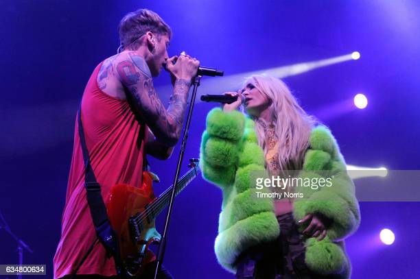 Rapper/actor Machine Gun Kelly and singer Pia Mia perform onstage at the Sir Lucian Grainge's 2017 Artist Showcase presented by American Airlines and...