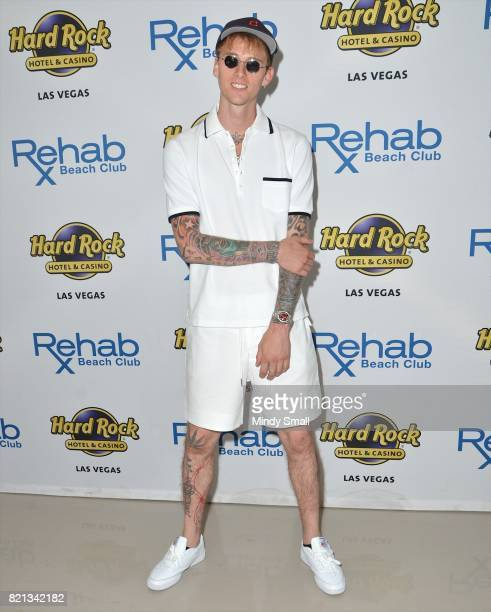 Rapper/actor Machine Gun Kelly arrives at the Rehab Beach Club pool party at the Hard Rock Hotel Casino on July 23 2017 in Las Vegas Nevada