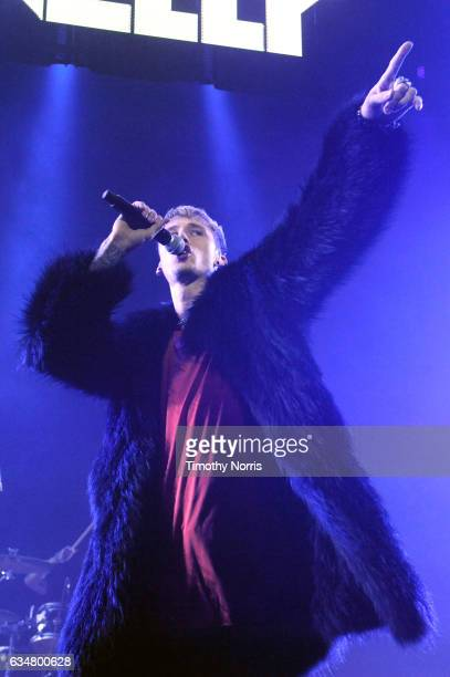 Rapper/actor Machine Gun Kelly performs onstage at the Sir Lucian Grainge's 2017 Artist Showcase presented by American Airlines and Citi at Ace Hotel...