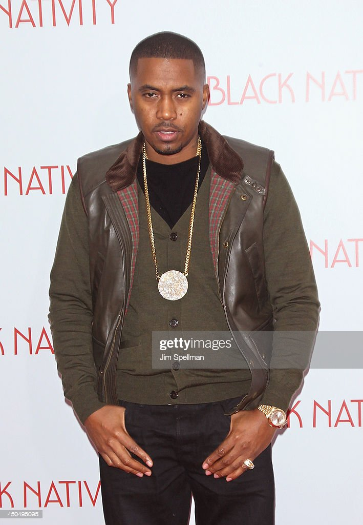 Rapper/actor <a gi-track='captionPersonalityLinkClicked' href=/galleries/search?phrase=Nas&family=editorial&specificpeople=204627 ng-click='$event.stopPropagation()'>Nas</a> attends the 'Black Nativity' premiere at The Apollo Theater on November 18, 2013 in New York City.
