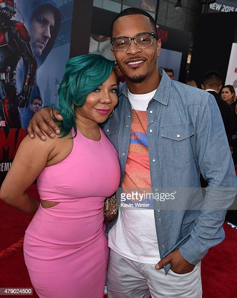 Rapper/actor TI and Tameka 'Tiny' CottleHarris attend the premiere of Marvel's 'AntMan' at the Dolby Theatre on June 29 2015 in Hollywood California