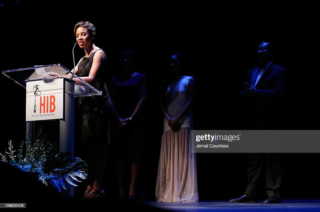 Rapper/actress MC Lyte accepts a Lifetime Achievement Award at The Hip-Hop Inaugural Ball II at Harman Center for the Arts on January 20, 2013 in Washington, DC.