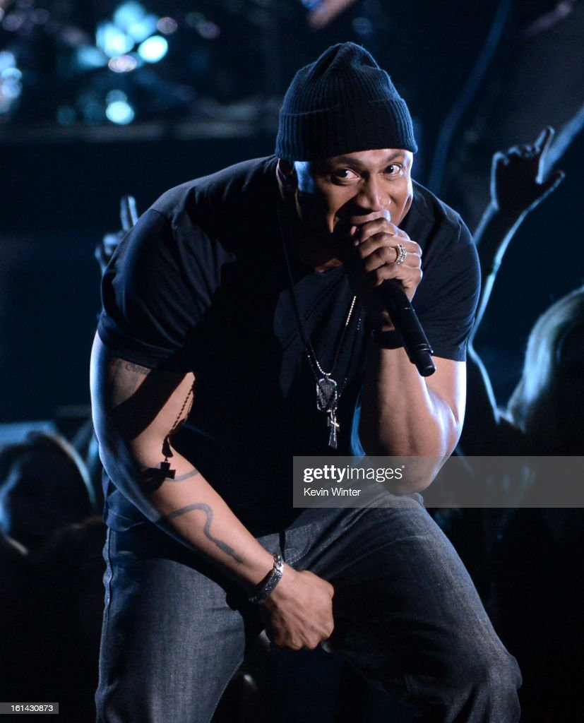 Rapper/host <a gi-track='captionPersonalityLinkClicked' href=/galleries/search?phrase=LL+Cool+J&family=editorial&specificpeople=201567 ng-click='$event.stopPropagation()'>LL Cool J</a> performs onstage during the 55th Annual GRAMMY Awards at STAPLES Center on February 10, 2013 in Los Angeles, California.