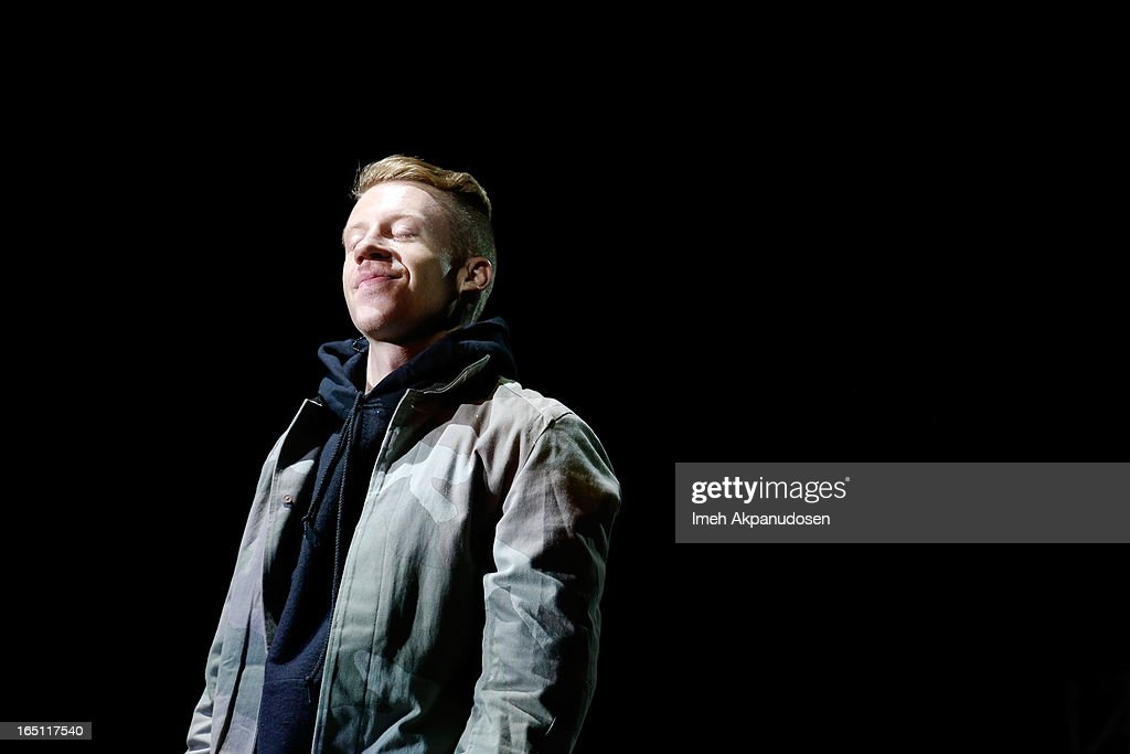 Rapper/musician Macklemore performs onstage during the 2013 Paid Dues Independent Hip Hop Festival at San Manuel Amphitheater on March 30, 2013 in San Bernardino, California.