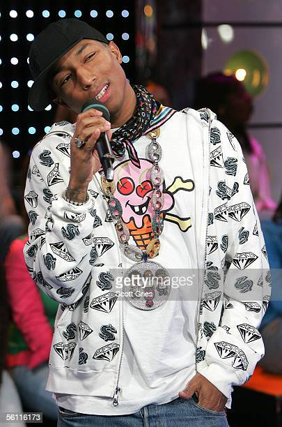 Rapper/producer Pharrell Williams makes an appearance on MTV's Total Request Live at the MTV Times Square Studios November 7 2005 in New York City