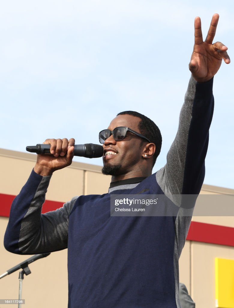 Rapper/producer/actor Sean Combs speaks at Ciroc and Maxim celebration of the National Day of Honor at Miramar MCX Military Base on March 19, 2013 in San Diego, California.