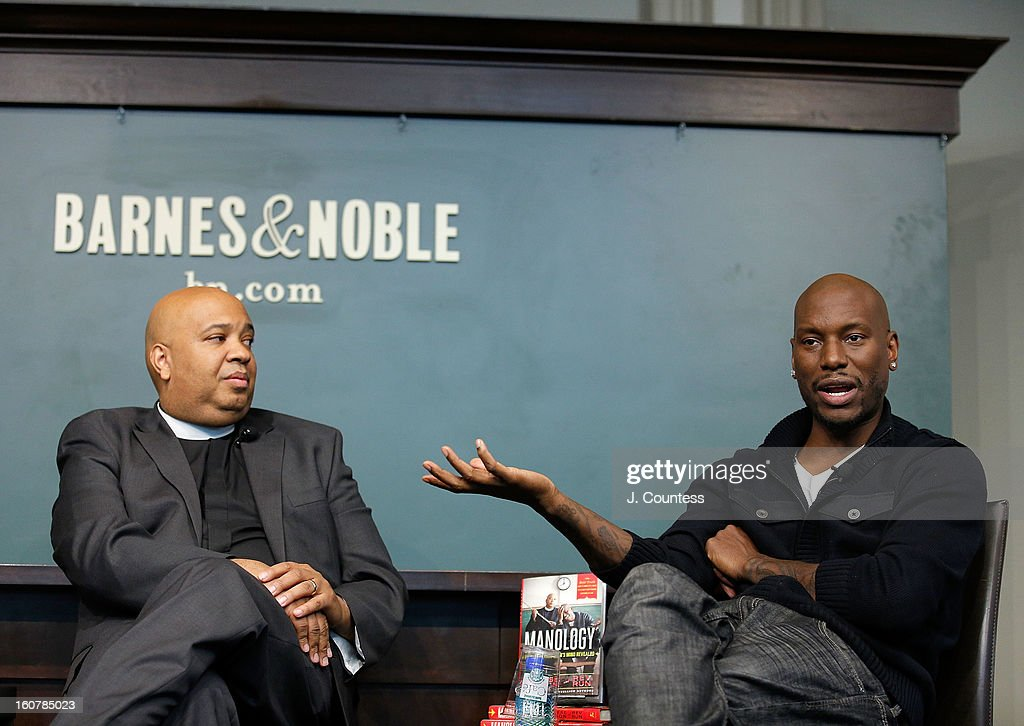 Rapper/reality television personaility Rev Run and singer/actor Tyrese Gibson onstage during a book signing for the book 'Manology: Secrets of a Man's Mind Revealed'at Barnes & Noble Union Square on February 5, 2013 in New York City.