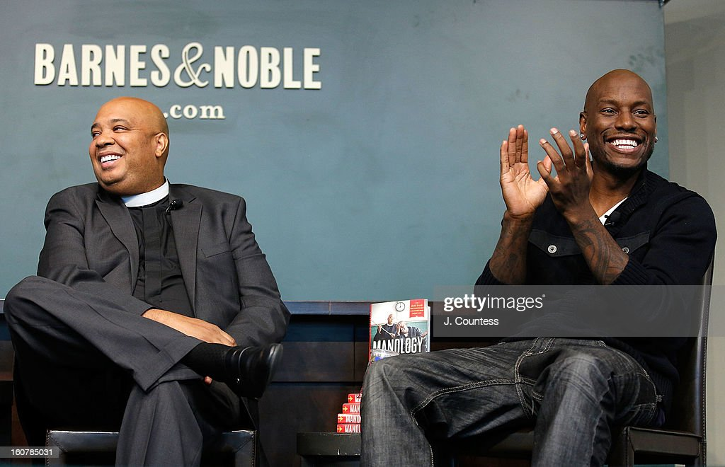 Rapper/reality television personaility Rev Run and singer/actor <a gi-track='captionPersonalityLinkClicked' href=/galleries/search?phrase=Tyrese&family=editorial&specificpeople=206177 ng-click='$event.stopPropagation()'>Tyrese</a> Gibson onstage during a book signing for the book 'Manology: Secrets of a Man's Mind Revealed'at Barnes & Noble Union Square on February 5, 2013 in New York City.