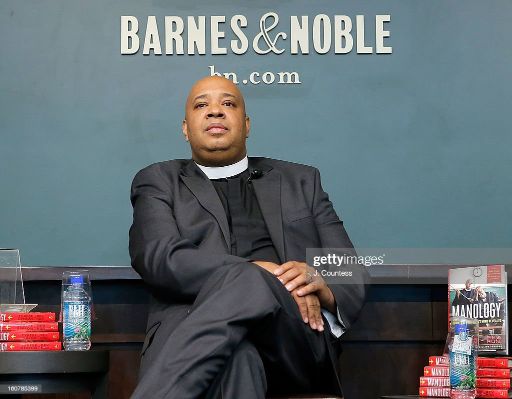Rapper/reality television personaility Rev Run onstage during a book signing for the book 'Manology: Secrets of a Man's Mind Revealed'at Barnes & Noble Union Square on February 5, 2013 in New York City.