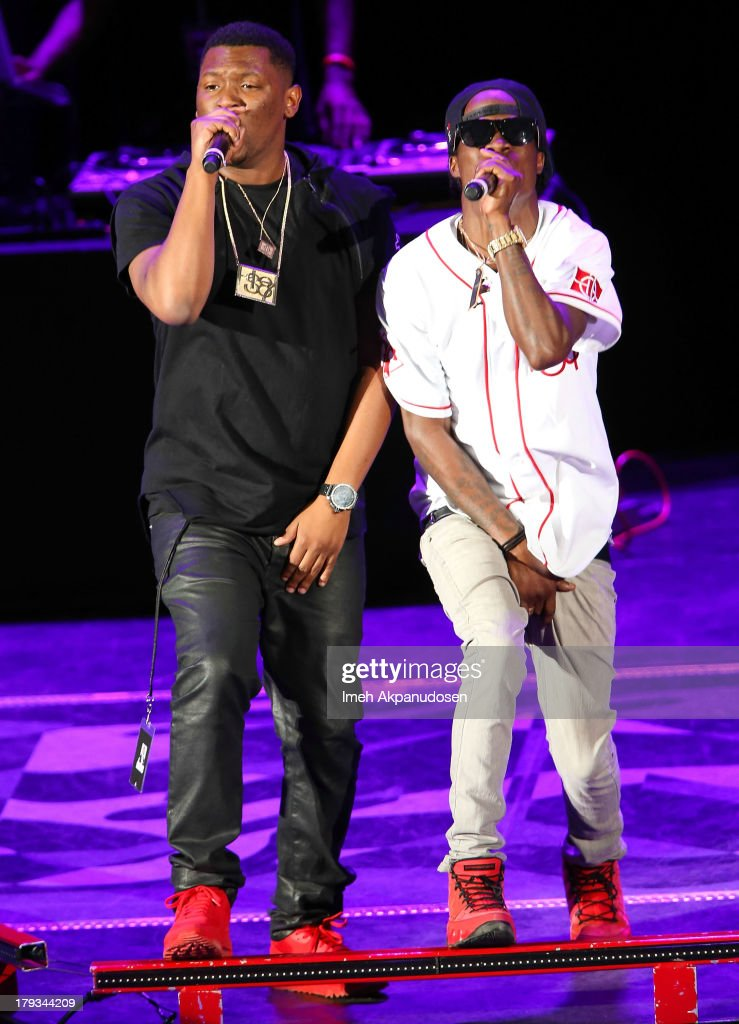 Rapper/record producer Hit Boy (L) and Pricetag of Audio Push perform during the 2013 America's Most Wanted Musical Festival at Verizon Wireless Amphitheatre on September 1, 2013 in Laguna Hills, California.