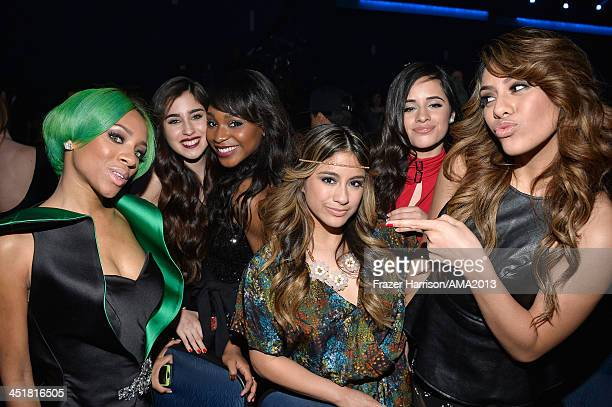 Rapper/Recording Artist Lil' Mama and Lauren Jauregui Normani Kordei Ally Brooke Camila Cabello and Dinah Jane Hansen of Fifth Harmony attend the...