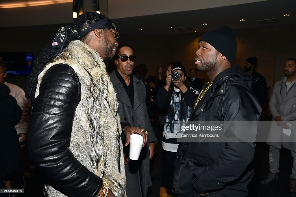 Rappers <a gi-track='captionPersonalityLinkClicked' href=/galleries/search?phrase=2+Chainz&family=editorial&specificpeople=8559144 ng-click='$event.stopPropagation()'>2 Chainz</a> (L) and <a gi-track='captionPersonalityLinkClicked' href=/galleries/search?phrase=50+Cent+-+Rapper&family=editorial&specificpeople=215363 ng-click='$event.stopPropagation()'>50 Cent</a> attend Kanye West Yeezy Season 3 on February 11, 2016 in New York City.