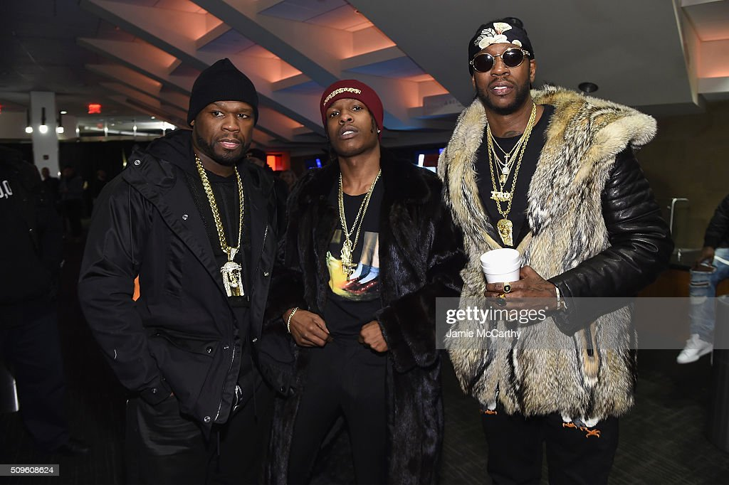 Rappers <a gi-track='captionPersonalityLinkClicked' href=/galleries/search?phrase=2+Chainz&family=editorial&specificpeople=8559144 ng-click='$event.stopPropagation()'>2 Chainz</a>, <a gi-track='captionPersonalityLinkClicked' href=/galleries/search?phrase=ASAP+Rocky&family=editorial&specificpeople=8562085 ng-click='$event.stopPropagation()'>ASAP Rocky</a> and <a gi-track='captionPersonalityLinkClicked' href=/galleries/search?phrase=50+Cent+-+Rapper&family=editorial&specificpeople=215363 ng-click='$event.stopPropagation()'>50 Cent</a> attend Kanye West Yeezy Season 3 on February 11, 2016 in New York City.