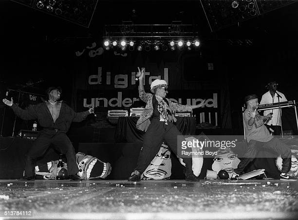 Rapper 2 Pac joins Humpty Hump and Money B from Digital Underground on stage at the UIC Pavilion in Chicago Illinois in 1991